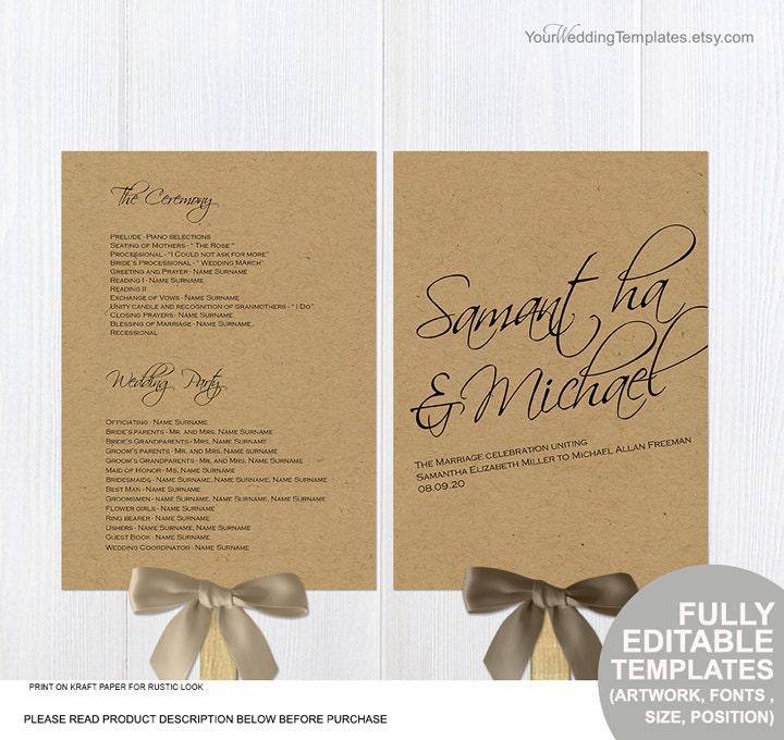 Rustic diy wedding program fans template printable ceremony for Rustic wedding program fans