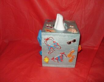 Themed tissue box etsy - Beach themed tissue box cover ...