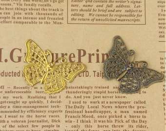 10 pcs  24X40mm  brass Butterfly Filigree ,Antique bronze Butterfly  Filigree  FB004