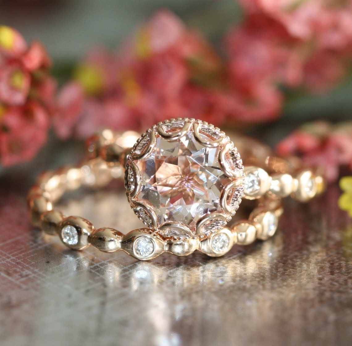 floral morganite engagement ring wedding band set by