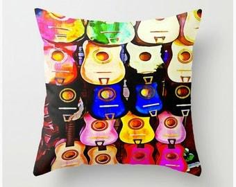 Throw Pillow Soft Spun Polyester Indoor Guitar Cushion Abstract Home Decor