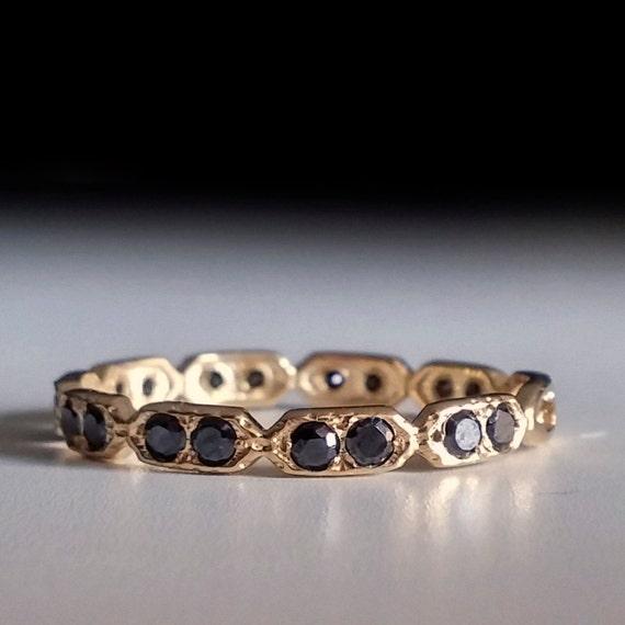Eternity Ring Black Stone Ring Thin Band Dainty Gold By Ardonn
