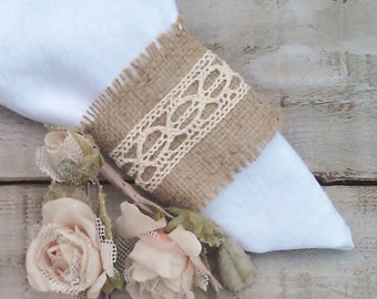 Burlap Napkin Holder - Burlap Serviette Holder - Burlap Napkin Ring Holder - Wedding Napkin Holder - Choose Qty