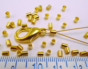 450 pc #4 Tube Crimp Beads 2.5mm OD, 2.0mm ID - Gold Plated (crt2.5)