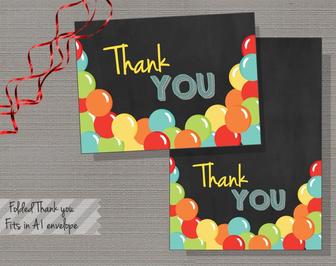 Bouncy House Invitation, Bouncy Ball Thank You Card, Ball Pit Thank YOu Card, Bouncing Balls,Colorful Balls, Chalkboard - INSTANT DOWNLOAD