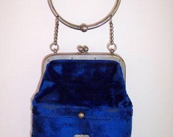 SALE!! 50 DOLLDARS OFF!! Vintage Opera Bag w/BInoculars three compartments, velvet, Mother-of-Pearl binoculars