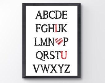 """Alphabet """"I love u"""""""