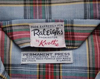 Vintage Raleigh Plaid Pajama Set circa the 60's