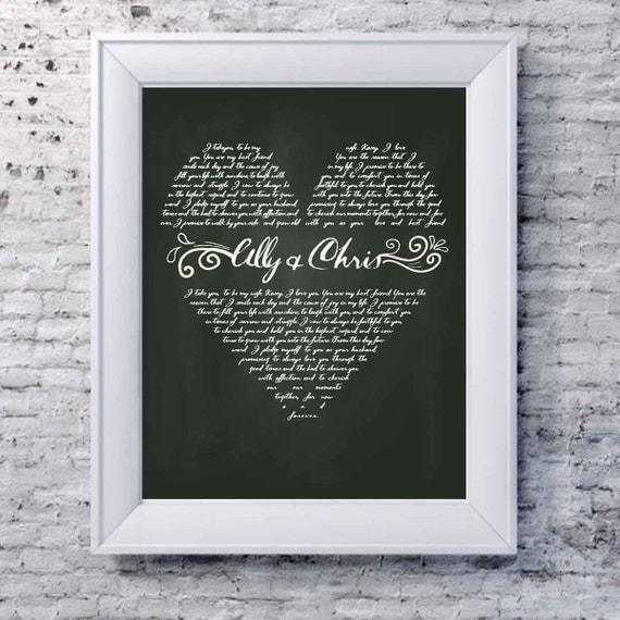 Unique wedding gift, personalized wedding gift, custom wedding vows ...