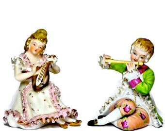 Pair Porcelain Figurines of Musicians, Vintage China Ornaments, Ceramics and Pottery Home Decor, Housewarming Gift