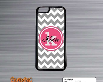 iPhone Case -  Gray Chevron with hot pink Monogram iphone 4/4s, iphone 5, iPhone 6 cover iPod Touch case