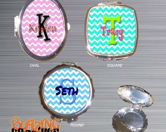 Personalized Compact Mirror, Monogram Compact Mirror, Chevron, Bridal Party Gift, Stocking Stuffer