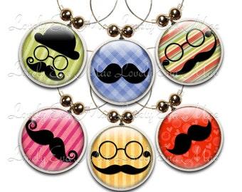 Mustache Wine Glass Charms, Set of 6,  Wine Glass Charm, Wine Gifts, Wine Accessories, Wine Charms, Wine Charm, Wine Glass Jewelry