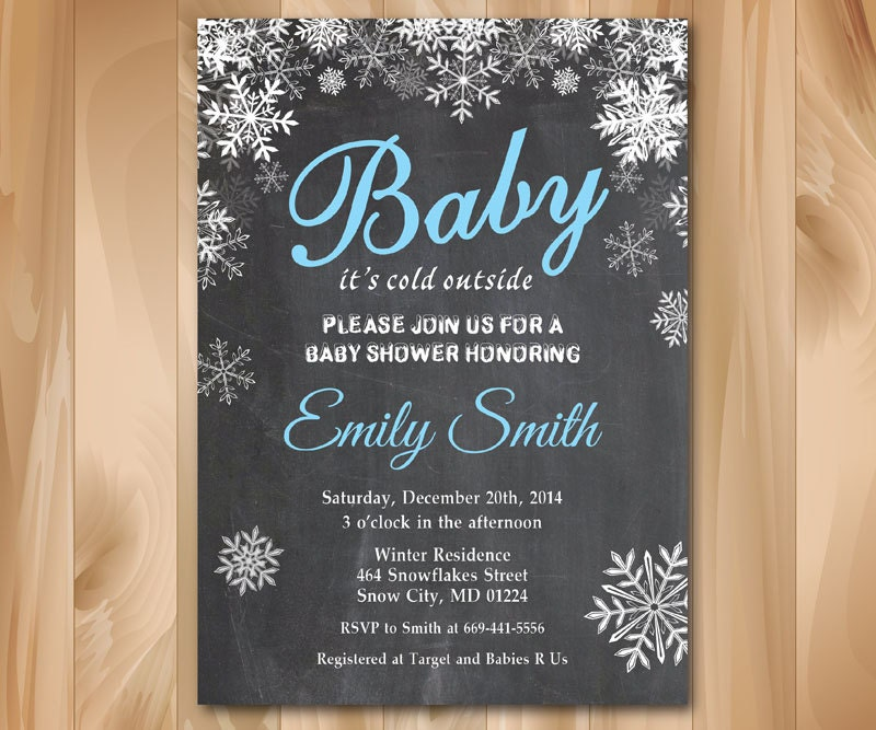 baby its cold outside baby shower invitation winter