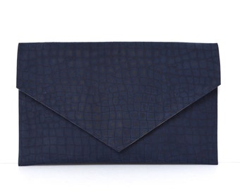 Leather Clutch, Animal Print Envelope Clutch Purse in Navy Blue