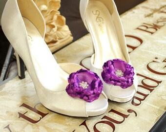 Sale 25% off Shoe clips Wedding Bridal Purple rhinestones Shoe Clips Bridal Flower Shoe Clips Weddings Bridal Accessories