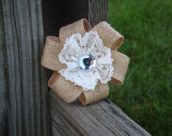 Burlap and Lace hair clip