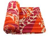 Vintage Throw, Kantha Quilt, Indian Handmade Bedspread Blanket Reversible Bedding Gudari Quilt Cotton Duvet Comforter B620