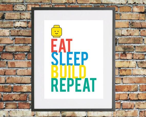 Typographic 39 Eat Sleep Build Repeat 39 Lego Quote Art