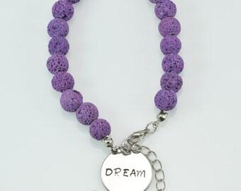 purple lava bracelet with handstamped pendant