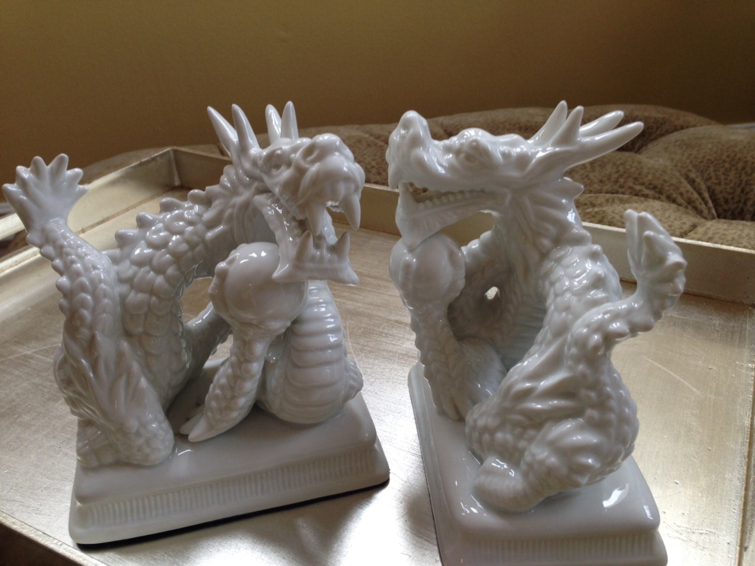 Vintage fitz and floyd white dragon bookends white porcelain - Dragon bookend ...