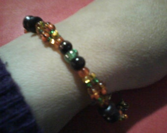 Autumn Bracelets in Pumpkin Orange, Yellow or Twig Brown Glass and Wood Beads