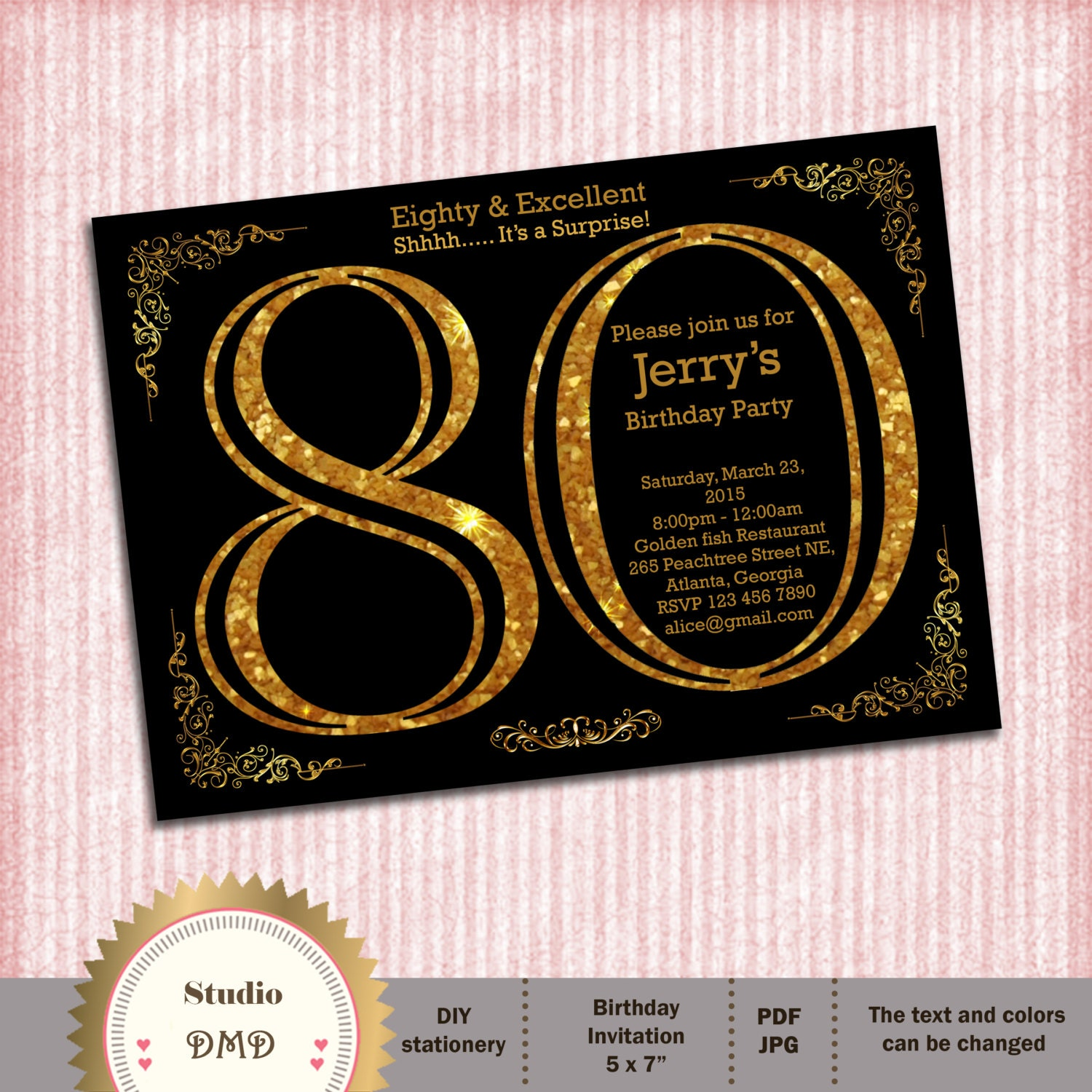 80th Birthday Invitation. Adult Gold Glitter Birthday