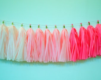 Pink Ombre Tissue Garland - Bridal Shower Decor - Baby Girl Shower Tassel Garland - Nursery Decoration - Pink Ombre Tassel Garland