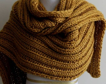 Knit scarf, long knitted scarf, winter knit shawl, chunky Knit scarf in mustard yellow, mustard color scarf, long knit scarves