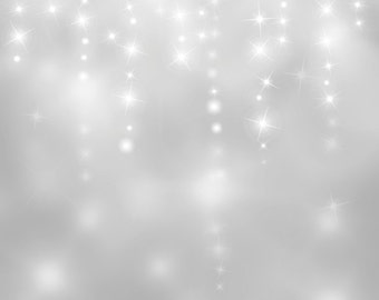 Photography Backdrop - FALLING STARS SILVER Background - 5ft x 5ft, 6ft, 7ft, 8ft Sky of bokeh lights and falling stars printed backdrop