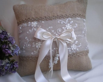 Ring Bearer Pillow - Wedding pillow-burlap and lace pillow-rustic weddings pillow