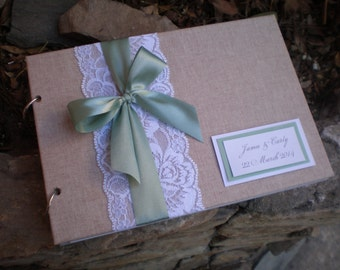 Lace and linen guest book-sage guest book