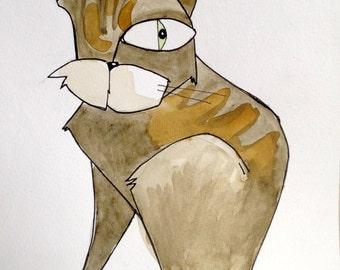 Cat #3 .Original Watercolor Painting