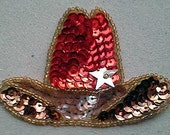Sequins & Beaded Red Cowboy Hat (PAIR) Applique