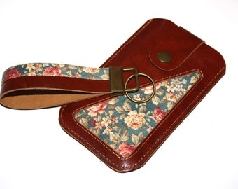 iPhone Case - Smartphone Case  LEATHER & FABRIC iPhone Pouch - Smartphone Pouch - HANDMADE - any size you want!!