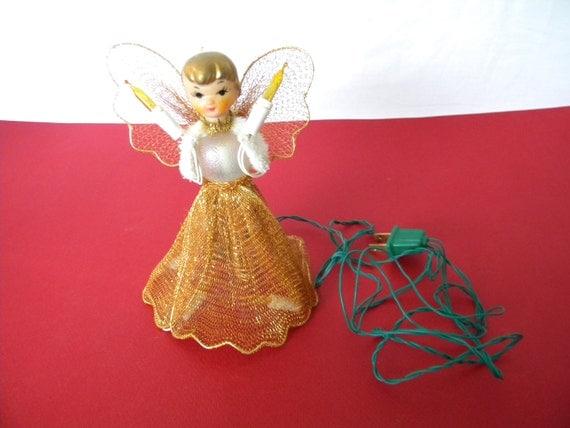 Lighted Angel Christmas Tree Topper Goldtone Mesh