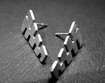 3N6 - Boucles d'oreilles en forme de pyramide,en argent véritable