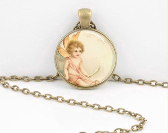 Fairy Spring Pale Pink Vintage Print Pendant Necklace Key Ring