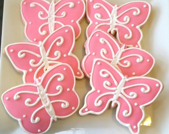 Custom Pink Butterfly Cookies 1 dozen ( Individually Bagged)