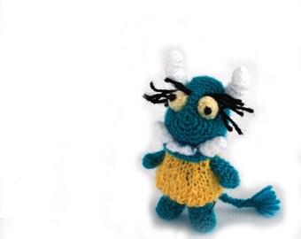 little monster, crochet ugly monster, teal blue monster, miniature monster, small toy for children, kid's monster