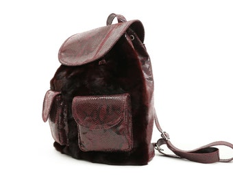 Real Fur and Leather Backpack - Red Mink