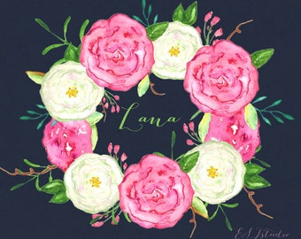Watercolor Clip Art, digital Hand Drawn. Wreath Lana. 14 PNG file. Pink and white roses. Spring colors. Wedding invitations. post card.