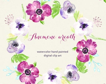 Watercolour Hand Drawn digital Clipart.  Watercolor flowers. Anemone wreath. Original wedding clipart. Wedding invitations. Card. Blog.
