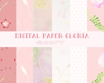 Digital paper Gloria, tender floral pattern.  With powdery pink color. Soft pastel design. Boho style.Watercolour texture.