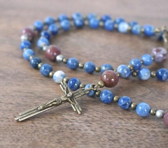 gemstone rosary 5 decade catholic blue heirloom