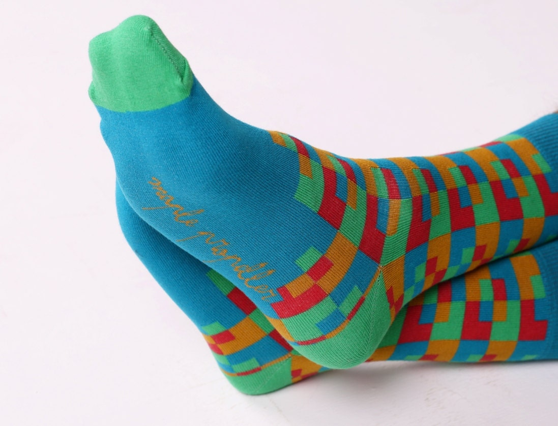 Men's colorful dress socks in teal