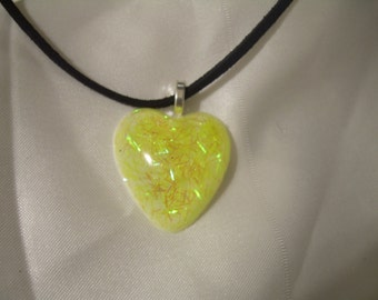 Dichroic Glass Look Lemonade Heart Pendant Summer Faux Dichroic with Gift Envelope