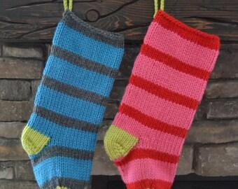 knit christmas stocking: bright stripes