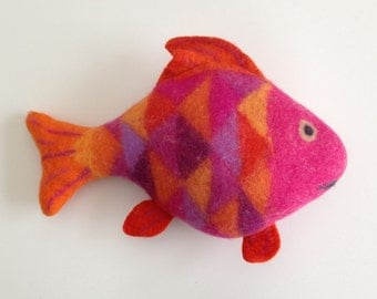 Rosy Red Fish, felted merino wool stuffed animal, unique, handmade, soft art toy, eco friendly home or nursery decor, pillow