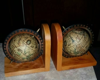 Vintage Set of Wood Bookends with Small World Globes made in Italy
